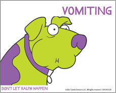 Help for your dog suffering from motion sickness. Vomiting is a symptom!